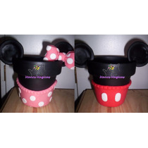 Maceta Mickey Minnie Golosinero Candy Bar Porcelana Torta
