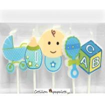 5 Velas Baby Shower Nacimiento Bebe Niño Bautismo 1er Año