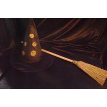 Halloween Disfraz Kit De Bruja,sombrero Y Escoba