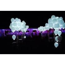 100 Globos Blancos Con Luz Led Fiestas Boda Evento