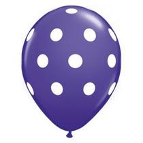Globo Violeta Con Lunares X 12 Unidades