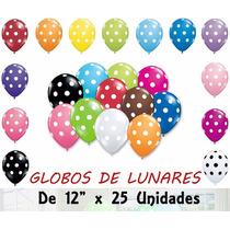 Globos Con Lunares De 12 X 25 Unidades Para Helio O Decorar