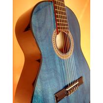 Guitarra Criolla Azul-veta Madera Visible-luthier Orellano -