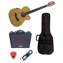 Combo Guitarra Electro Criolla Amplificador Funda Cable Pua