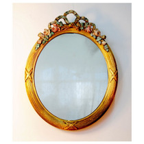 Espejo Oval Antiguo Francés Dressoire C/ Talles En El Marco!