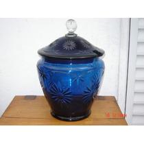 Potiche Ponchera De Cristal Azul