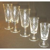 Antiguo Juego 50 Copas Cristal Tallado 10 Pers.impecable579f