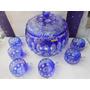 Ponchera De Cristal De Bohemia Color Azul Cobalto