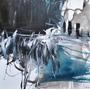 Cuadros Abstractos Originales Blancos, Azules, Grises, Negro