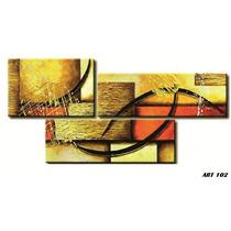 Cuadros Abstractos Modernos Tripticos Con Relieve Y Textura