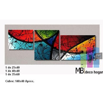 Cuadro Moderno Triptico Abstracto, Mural 7