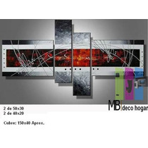 Cuadro Moderno Triptico Abstracto, Mural 3.2