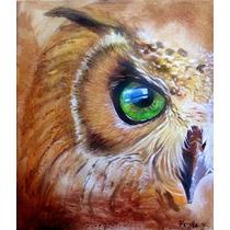 Imagen De Lechuza (buho) Ojos Verdes - Cuadro De Padilla