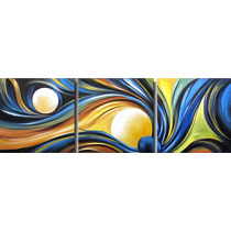 Triptico Abstracto Ondas Y Esferas Sensacion!!!