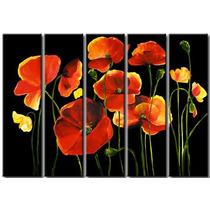 Cuadros Trípticos Florales En Rojo Y Negro