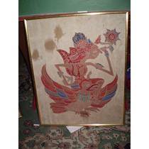 Cuadro Tinta Pintado Sobre Seda Original De Indonesia