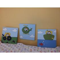 Lote 3 Cuadros Tirpticos Infantiles Pintados A Mano