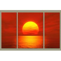 Atardecer Rojo En 3 Partes Tela Canvas 110 X 70 Cm .