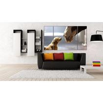 Caballo Y Cachorro Bastidor En Canvas De 140x80 Cm Exelente