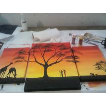 Cuadro Triptico Africano