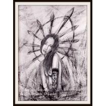 Dibujo A Lápiz Y Carbonilla De Mujer Virgen Blanco Y Negro