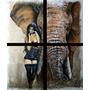 Cuadro Imagen De Elefante Y Mujer En Marrones, Padilla