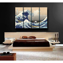 The Great Wave En Tela Canvas 35x95 C/u - Final De 140x95 Cm