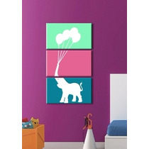 Cuadro Moderno Tríptico Infantil Elefante ( Modelo Grande )