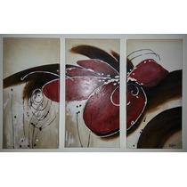 Cuadros Pintados A Mano Triptico Abstractos Y Flores