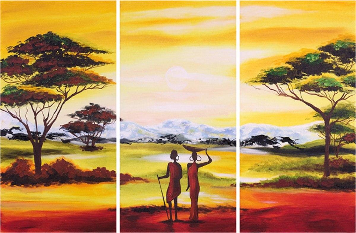Cuadros tripticos africanos modernos polipticos 45 000 - Cuadros tripticos ...
