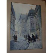 Cuadro Grande Paisaje Europeo Pintado Sobre Carton. 55 X 70.