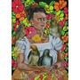 Cuadro Frida Kahlo Estilo Pop 50 X 70 Cm Pintado A Mano