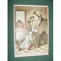 Litografia Antigua Francia Adoracion A Los Retratos Del Rey
