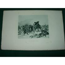 Grabado Antiguo Francia Royer Guerra Soldados Caballos Armas
