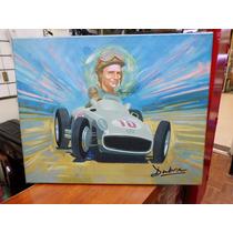 Pintura Sobre Tela Fangio Con Mercedes 50 X 40 Cm