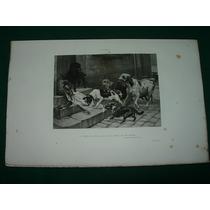 Grabado Cuadro Antiguo Francia Borchad Perros De La Calle