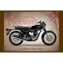 Moto Norton Carteles Antiguo Chapa 60x40cm Cuadro Mot-005