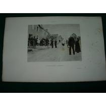 Antiguo Grabado Original Francia Hagborg Entierro Funeral