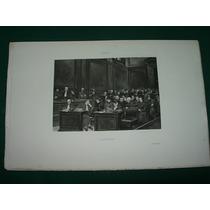 Grabado Antiguo Francia Salzedo Auditorio Gente Abogados