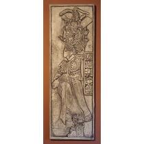 Sacerdote Maya Escultura Mural Bajo Relieve