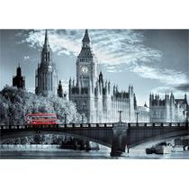 Londres Bus Rojo 60x40 Cm Canvas Bastidor Exelente