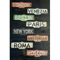 Carteles Cuadros Vintage Madera Retro Paris New York Londres