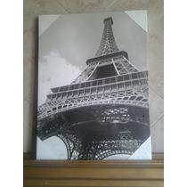 Cuadro Fotografia Entelada Torre Eiffel Monocromático