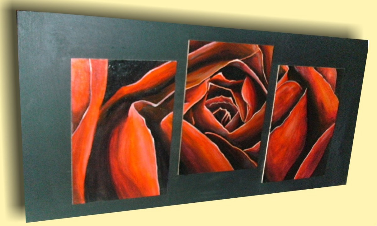 Cuadros abstractos flores modernas dipticos tripticos for Cuadros tripticos online