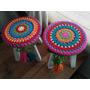 Funda Tejida A Crochet Para Banquito Redondo, De 20cm Aprox.