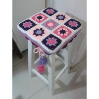Funda Tejida A Crochet Para Banco Cuadrado, De 30cm Aprox.