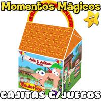 10 Cajitas Souvenirs Phineas Y Ferb Golosinera + 7 Juegos