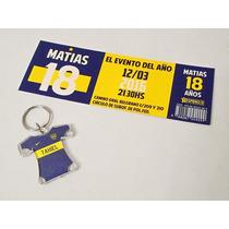 Combo Invitacion Y Llavero Souvenir De Boca - Personalizados