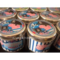 Souvenir Peppa Pig Latas Personalizadas 7,5x8 Pack X25 Unid