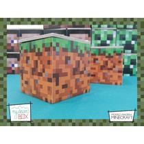 Cajas Personalizadas Madera 5cm2 Minecraft Souvenirs Pasto